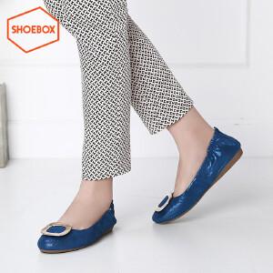 达芙妮旗下SHOEBOX/鞋柜春季潮新款套脚圆头单鞋 低跟平底女鞋
