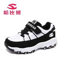 哈比熊童鞋男童休闲鞋2016春秋新款女童运动鞋子中大童韩版跑步鞋AS318H1