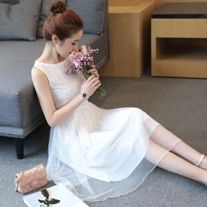 2018夏季新款韩版小清新气质无袖a字修身显瘦网纱裙子