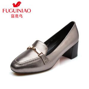 富贵鸟  夏季新品牛皮金属扣饰方头中跟女鞋粗跟单鞋