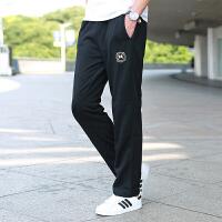 运动裤男长裤秋季新款宽松大码直筒休闲青少年健身跑步针织棉卫裤 3318黑色 XL