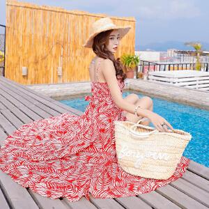 RANJU 然聚2018女装夏季新品新款海边度假吊带连衣裙一片式绑带沙滩裙
