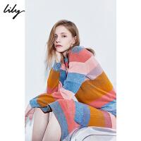 Lily2019冬新款女装时髦彩色条纹圆领宽松罗纹休闲毛针织衫8E08