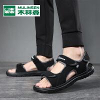 木林森2021新款个性凉鞋男夏季外穿一字凉鞋男潮流休闲男士沙滩鞋