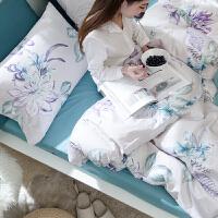 家纺简约全棉贡缎四件套60支长绒棉清新纯棉被套素色床单床上用品套件