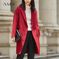 Amii[极简主义]羊毛呢大衣冬长款单面呢子外套女11672863