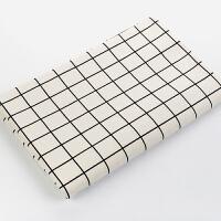 棉麻布料格子日韩风格加厚亚麻桌布窗帘抱枕沙发面料纯棉布艺 半米价(宽度1.5米)