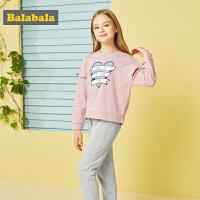 巴拉巴拉童装女童秋装2018新款儿童两件套女童时髦套装卫衣裤子潮