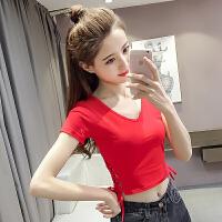 夏爵士舞露脐短款T恤健身体操上衣性感韩舞蹈练功社会女蹦迪衣服