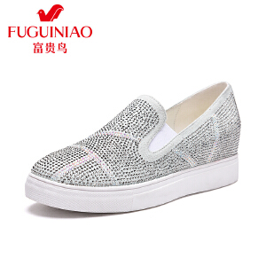 富贵鸟 年新品 时尚水钻简单女士休闲单鞋圆头内增高套脚鞋