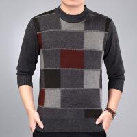 2017秋中年人圆领男士加厚保暖打底内衣格子毛衣商务套头针织衫