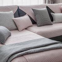 欧式沙发垫黑白斜纹简约现代全棉布艺组合四季通用防滑客厅坐垫