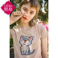 【2件8折/3件7折】裂帛女装2018夏装新款圆领猫咪贴布绣上衣时尚宽松针织T恤女
