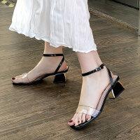 户外透明粗跟凉鞋女时尚潮百搭中跟仙女风晚晚鞋