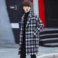 春秋装韩版格子风衣男士中长款宽松大衣冬季潮流外套帅气日系披风 白色