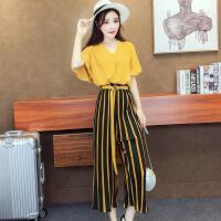 2018春夏装新款雪纺韩系chic上衣 +条纹亮色八分裤两件套时髦套装