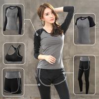 秋季速干瑜伽服健身房跑步运动套装女运动五件套晨跑装备大码