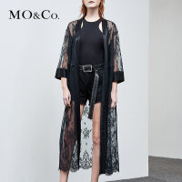 MOCO夏季新品中长款睡袍式收腰蕾丝外套MA182COT201 摩安珂