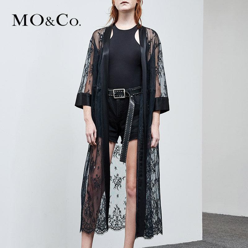 MOCO夏季新品中长款睡袍式收腰蕾丝外套MA182COT201 摩安珂 满399包邮 镶边七分袖 性感花型蕾丝