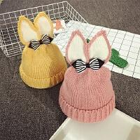 儿童毛线帽冬天女童针织帽秋季套头帽加绒护耳帽宝宝帽子1-2岁潮
