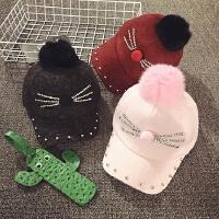 儿童鸭舌帽秋冬季宝宝帽子男女童棒球帽韩版潮毛球保暖小孩帽加厚