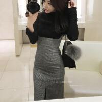 秋冬季韩版修身中长款裙高腰显瘦开叉半身裙背带裙子女包臀毛呢潮 偏大半码不含上衣
