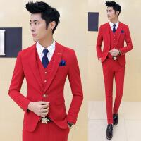 社会精神小伙2016新款男士紧身小西装韩版彩色西服男外套大红结婚西装主持礼服 红色 48(M)
