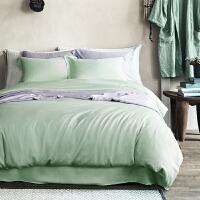 纯色天丝四件套夏季双面纯天丝/60支床上四件套床笠款/床单款 乳白色 014果绿