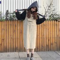 春秋女装韩版宽松显瘦纯色大口袋背带裙中长款无袖连衣裙学生长裙