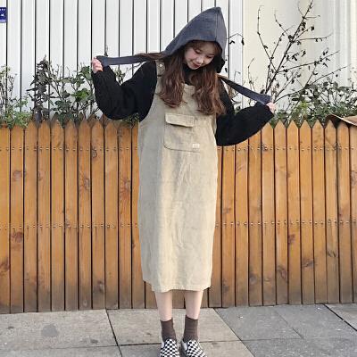 春秋女装韩版宽松显瘦纯色大口袋背带裙中长款无袖连衣裙学生长裙 发货周期:一般在付款后2-90天左右发货,具体发货时间请以与客服协商的时间为准
