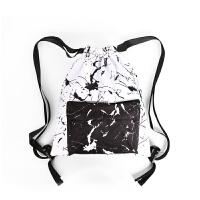 2018新品黑白印花抽绳包纹理束口袋高品质防水运动双肩背包