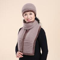 中老年人女士帽秋冬天针织毛线老人帽子女冬季奶奶中年妈妈帽围巾