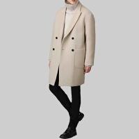 2017韩版秋冬季 羊毛大衣男中长款青年 毛呢外套宽松男士大衣加厚 黑 色(棉内衬)