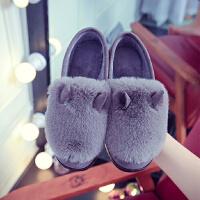 包跟棉拖鞋冬季时尚新款居家居棉拖女冬天全包跟毛绒拖鞋外穿棉拖