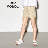 littlemoco夏季新品女童裤子弹力松紧腰卷边裤脚棉质休闲短裤