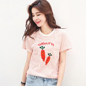 夏季新品韩版宽松条纹字母萝卜绣花圆领短袖T恤女棉小衫潮