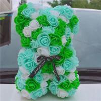 永生花抱抱熊 玫瑰熊永生花小熊礼盒抱抱熊送闺蜜婚礼摆设结婚装扮女友生日礼物 +灯
