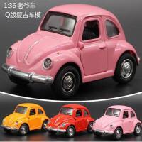 Q版合金汽车模型声光回力小汽车 大众甲壳虫迷你儿童玩具