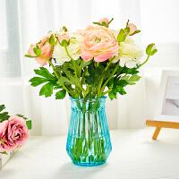 现代简约小清新哑光陶瓷花瓶客厅家居装饰摆件插花干花花器小花瓶 玻璃瓶+8枝白粉露莲
