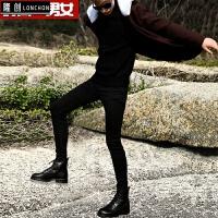 冬季新款加绒加厚黑色牛仔裤男士弹力紧身保暖小脚铅笔裤修身靴裤