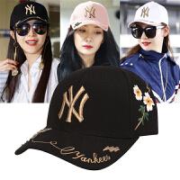 棒球帽 2018新款NY洋基队鸭舌帽男女遮阳帽防晒嘻哈帽子 可调节