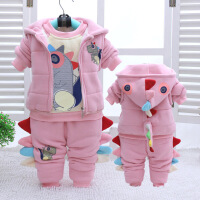 童装男女宝宝秋冬装加绒加厚卫衣套装1-2-3岁小童冬季棉衣三件套