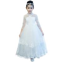 女童婚纱走秀蓬蓬裙钢琴演出服主持晚礼服 儿童礼服长袖白色公主裙 白色