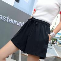 运动短裤女秋冬新款外穿高腰宽松热裤显瘦大码休闲阔腿短裤 黑色