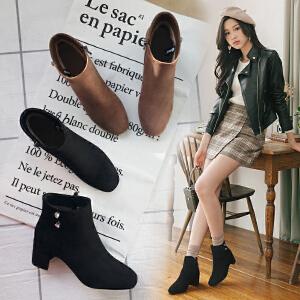 【满200减100】【毅雅】新款时尚超高跟性感女士短靴子百搭女鞋靴子 YM7WB7987