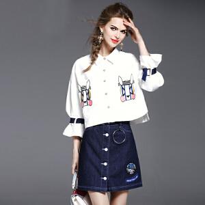 2018春装新款七分袖牛仔连衣裙两件套时尚套装裙显瘦A字裙