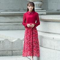春季新款红色雪纺连衣裙女装夏季度假沙滩裙修身大摆长裙子