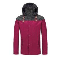 青年男士夹克外套 秋冬新款拼色jacket旅行男装 枣红色 L/175