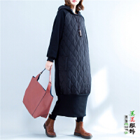 胖妹妹棉衣女中长款韩版时尚女装胖mm大码200斤秋冬装连帽连衣裙