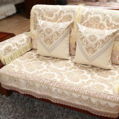 """中式沙发垫布艺沙发巾实木沙发坐垫客厅组合套装四季通用定做   """"浮雕提花工艺,不褪色""""""""面料柔软防滑&rd"""